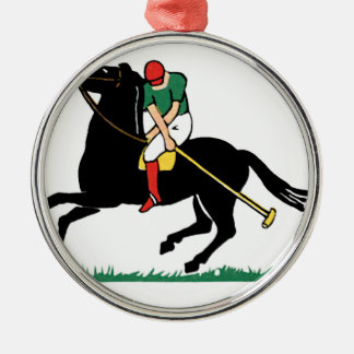 Deco Horse Polo Silver-Colored Round Decoration