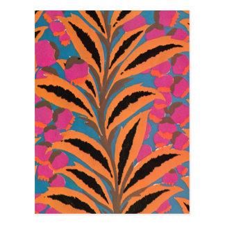 Deco leaves in Orange Postcards