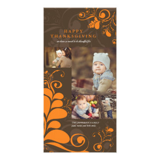 Deco Leaves Swirls Thanksgiving Holiday Photo Card