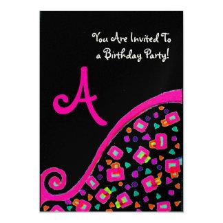 DECO MONOGRAM BIRTHDAY PARTY, fuchsia black gold 13 Cm X 18 Cm Invitation Card