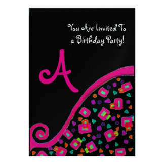 DECO MONOGRAM BIRTHDAY PARTY, fuchsia black silver Invite