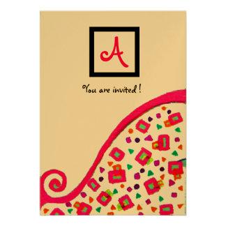 DECO MONOGRAM,black ,pink violet gold Invitations