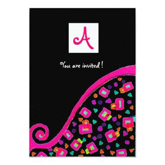 DECO MONOGRAM,black ,pink violet white 13 Cm X 18 Cm Invitation Card