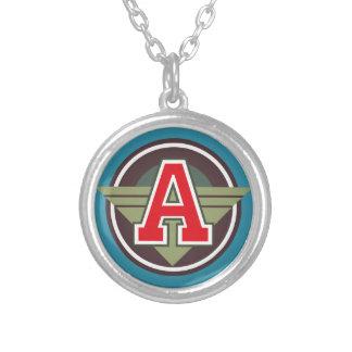 "Deco Monogram Letter ""A"" Initial Round Pendant Necklace"
