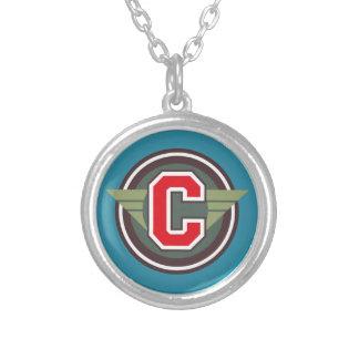 """Deco Monogram Letter """"C"""" Initial Round Pendant Necklace"""