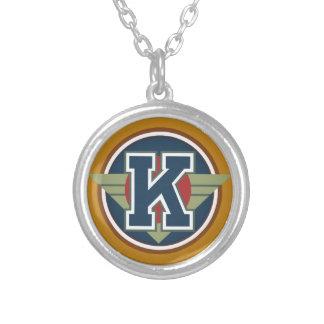 "Deco Monogram Letter ""K"" Initial Pendants"
