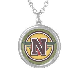 "Deco Monogram Letter ""N"" Initial Round Pendant Necklace"