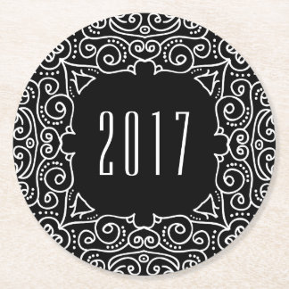 Deco New Year | 2017 New Year's Eve Party Round Paper Coaster