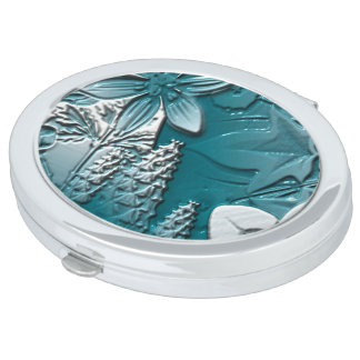 Deco Nouveau Blue Flowers Embossed Compact Mirror