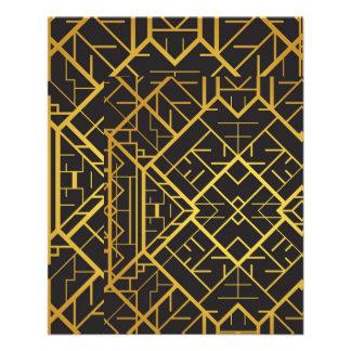 deco,nouveau,gold,black,elegant,chic,pattern,templ 11.5 cm x 14 cm flyer