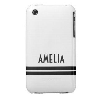 Deco Stripes Name Monogram Black White iPhone 3 Cases