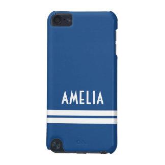 Deco Stripes Name Monogram Soft Blue White iPod Touch 5G Cases