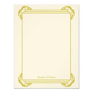 Deco tan frame wedding custom thank you note 11 cm x 14 cm invitation card