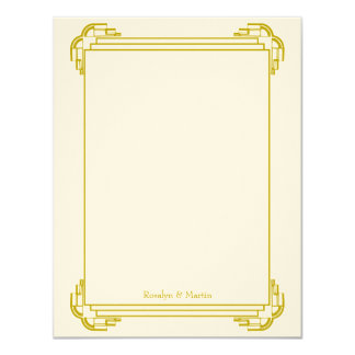 Deco tan frame wedding custom thank you note card