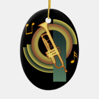 Deco Trumpet Ceramic Oval Decoration