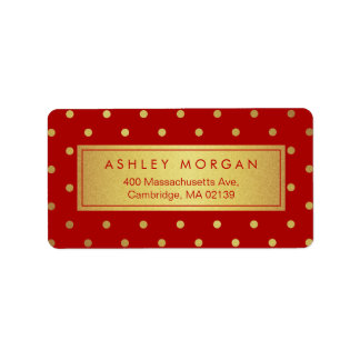 Decor Christmas Red with Glitter Gold Polka Dots Address Label