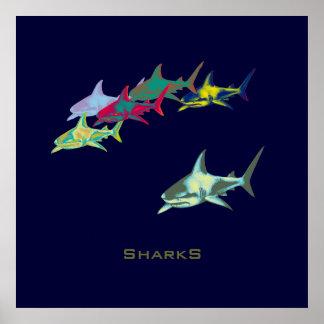 decor shark prints posters