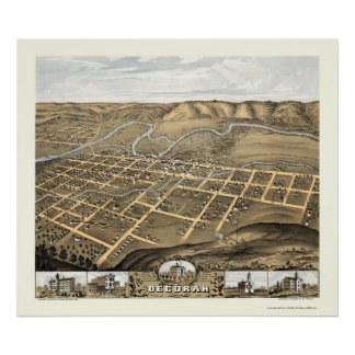 Decorah, Iowa Panoramic Map - 1870 Poster