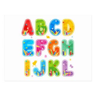 Decorated ABC set, letters A-L Postcard