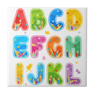 Decorated ABC set, letters A-L Small Square Tile