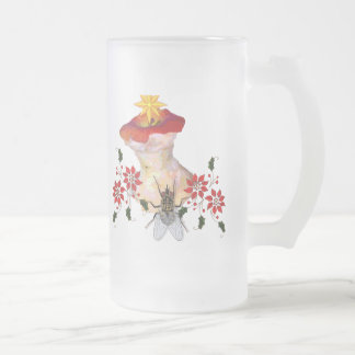 Decorated Apple Core 16 Oz Frosted Glass Beer Mug