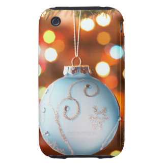 Decorated bauble on Christmas tree with lights Tough iPhone 3 Case