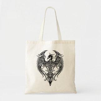 Decorated Black Tribal Phoenix Tote Bag