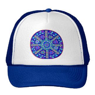 Decorated Blue Mandala Mesh Hats
