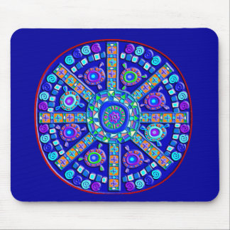 Decorated Blue Mandala Mouse Mat