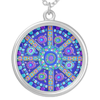 Decorated Blue Mandala Silver Plated Necklace