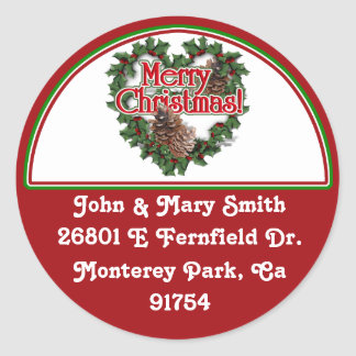 Decorated Christmas Address Label Round Sticker