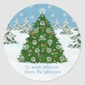 Decorated Christmas Tree: Gift Stickers