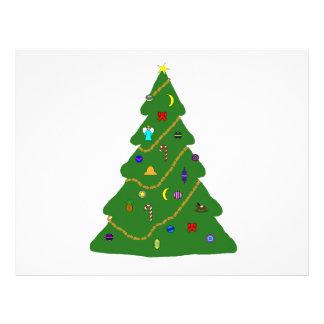 Decorated Christmas tree illustration 21.5 Cm X 28 Cm Flyer