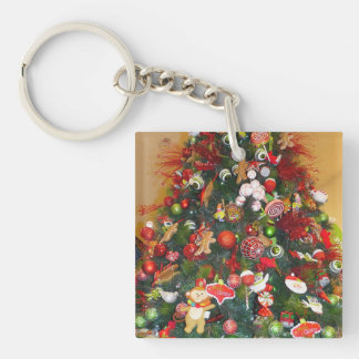 Decorated Christmas Tree Single-Sided Square Acrylic Key Ring
