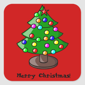 Decorated Christmas Tree on Red Sticker Sticker