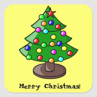 Decorated Christmas Tree on Yellow Sticker Square Sticker