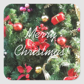Decorated Christmas Tree Square Sticker