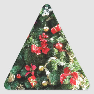 Decorated Christmas Tree Triangle Sticker