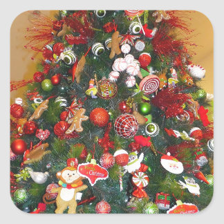 Decorated Christmas Tree Square Stickers