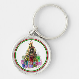 Decorated Christmas Tree W/Gifts Keychain