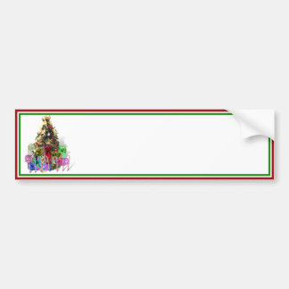 Decorated Christmas Tree with Presents Bumper Sticker
