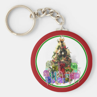 Decorated Christmas Tree with Presents Key Chains