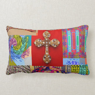 Decorated CROSS with Miniature Art Collection Lumbar Cushion