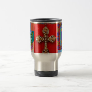 Decorated CROSS with Miniature Art Collection Stainless Steel Travel Mug