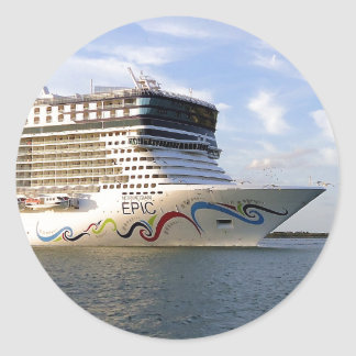 Decorated Cruise Ship Bow Classic Round Sticker