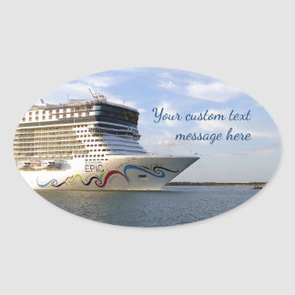 Decorated Cruise Ship Bow Custom Oval Sticker
