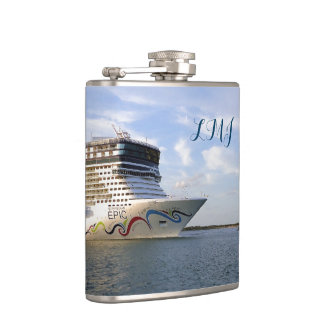 Decorated Cruise Ship Bow Monogrammed Flask