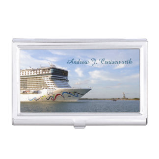 Decorated Cruise Ship Bow Personalized Business Card Holder