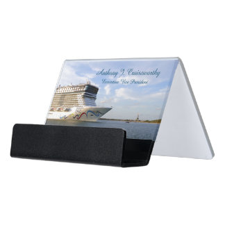 Decorated Cruise Ship Bow Personalized Desk Business Card Holder