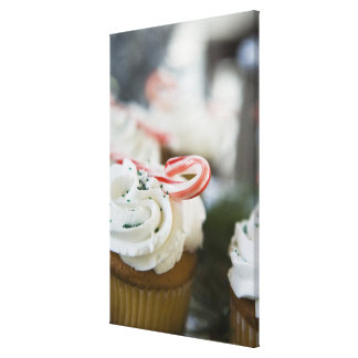 Decorated cupcakes stretched canvas print
